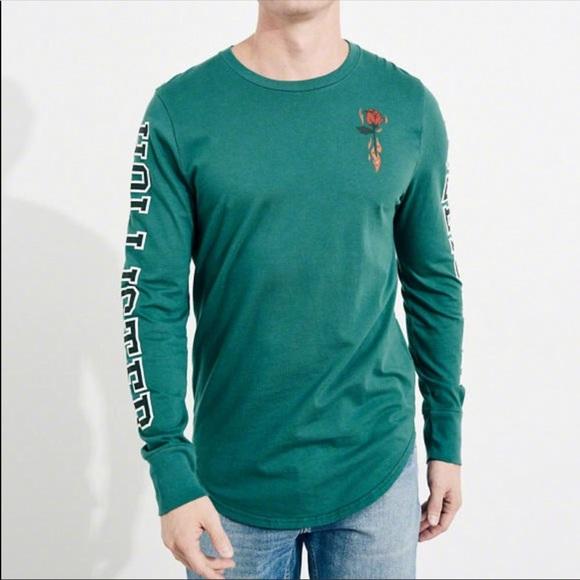 902dccdf Hollister Shirts | Mens Rose Logo Graphic Long Sleeve | Poshmark